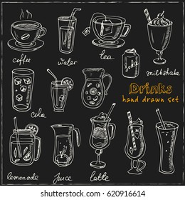 Vector set with beverages hand drawn doodles on white background. Tea, coffee, lemonade,cocktails, smoothie. Illustration for menus, recipes and packages product