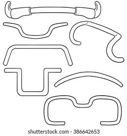 vector set of bicycle handlebar