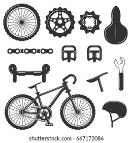 Vector set of bicycle parts isolated icons. Black and white bicycle symbols and design elements. Sport bmx bike with repair gears. Stars, wheels, helmet.