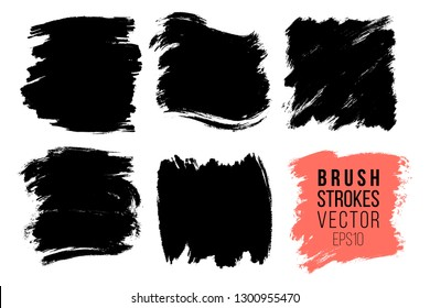 Vector set of big hand drawn brush strokes, stains for backdrops. Monochrome design elements set. One color monochrome artistic hand drawn backgrounds square shapes.