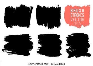Vector set of big hand drawn brush strokes, stains for backdrops. One color monochrome artistic hand drawn backgrounds. Monochrome design elements set square shapes
