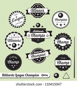 Vector Set: Billiards League Champion Labels and Stickers