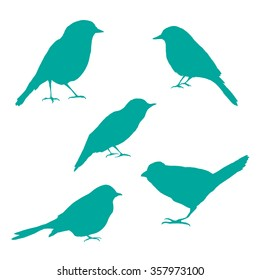 Vector set of bird silhouettes. Birds silhouette different vector illustrations.
