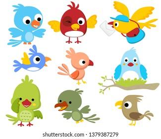 Vector set of birds cartoon