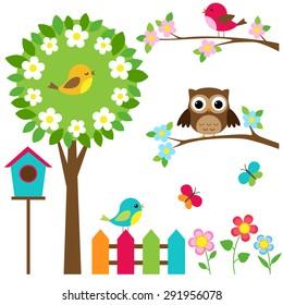 Vector set of birds, flowers and butterflies