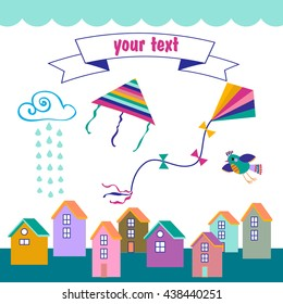Vector set -  birds, houses, kites, cloud    etc . Kites fly in the sky.Templates on white background.