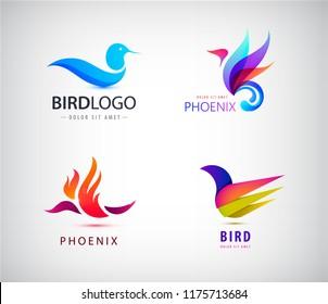 Vector set of birds logos, phoenix icons isolated. Abstract identity