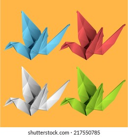 Vector set - birds  (origami style)