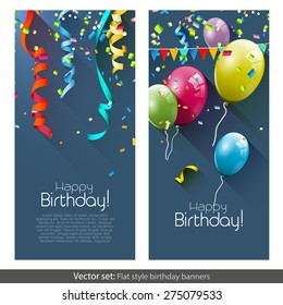 Vector set of birthday banners with colorful confetti and balloons
