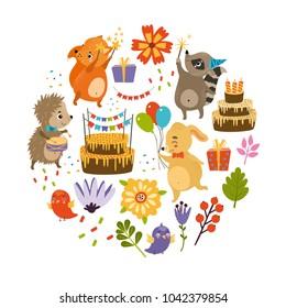 vector set of birthday. hedgehog, fox, squirrel, dog, raccoon, cake.