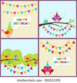 Vector set of birthday party cards with cute birds and bunting.