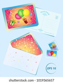 Vector set for birthday from templates cards from postcards, stamps and envelopes