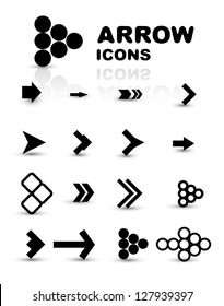 Vector set of black arrow icons isolated on white