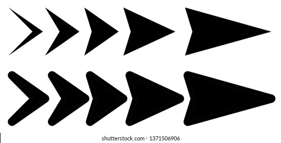 Vector set of black arrows to the right. Arrow pointer icon. Interface collection of arrows