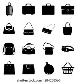 Vector Set of Black Bags Icons