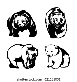 Vector set of black bears and bear logo Isolated on white background