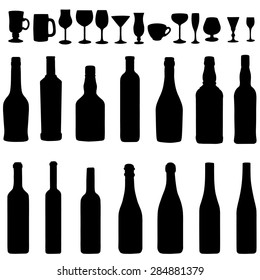 Vector  Set  of Black Bottles and Steamware Silhouettes