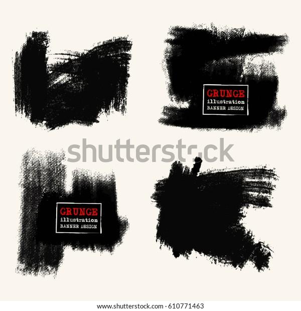 Vector Set Black Brush Strokes Grunge Stock Vector (Royalty