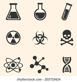 Vector Set of Black Chemistry Icons.