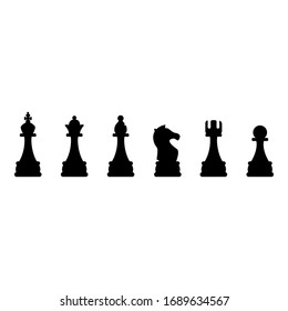 Vector Set of Black Chess Silhouette Icons