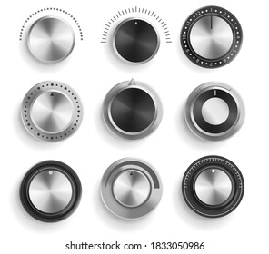 Vector set of black and chrome volume control buttons isolated on white background. Realistic 3d metal sound knobs. Tune and volume round button with scale