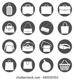 Vector Set of Black Circle Bags Icons