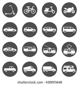 Vector Set of Black Circle Ground Transportation Icons