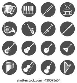 Vector Set of Black Circle Musical Instruments Icons