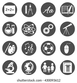 Vector Set of  Black Circle School Subjects Icons.