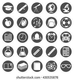 Vector Set of Black Circle School Icons.