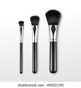 Vector Set of Black Clean Professional Makeup Powder Round Large Medium Small Brush with White Handle Isolated on Background