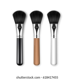 Vector Set of Black Clean Professional Makeup Powder Brush with Black and White Wooden Handle Isolated on White Background