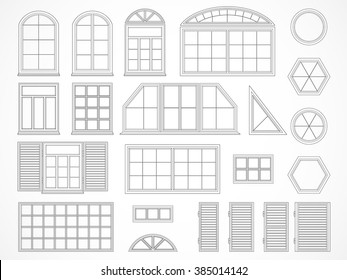 Vector set of black contours windows and shutters. Isolated. Icons.