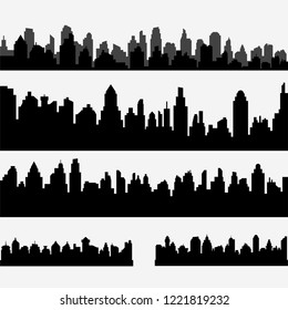 Vector set of black different horizontal cityscape. Vector city silhouettes, element for design banners,web design, architectural backgrounds