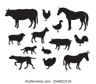 Vector set of black domestic animals silhouette isolated on white background