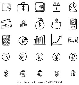 Vector Set Of Black Doodle Finance Icons