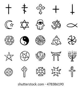 Vector Set of Black Doodle Religious Symbols
