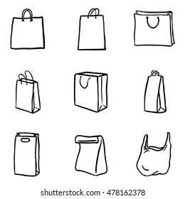 Vector Set of Black Doodle Shopping Bags Icons