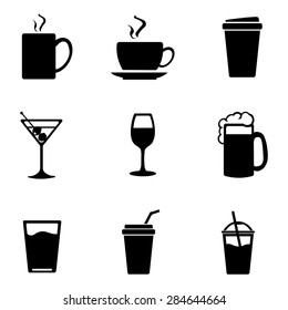 Vector Set of Black Drinks Icons. Tea, Coffee, Alcohol, Martini, Wine, Beer, Mineral Water, Fizzy Water, Smoothie, Cocktail.