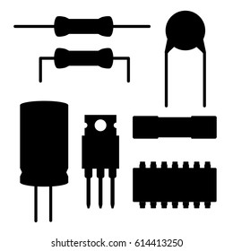 Vector set of black electronic components silhouettes. Resistor, ceramic and electrolytic capacitors, fuse, memory chip, microcontroller, transistor. Isolated on white background.