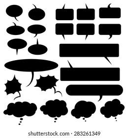 Vector Set of Black Flat Comics  Bubbles. Talk and Think