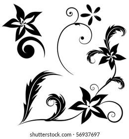 vector set of black flowers