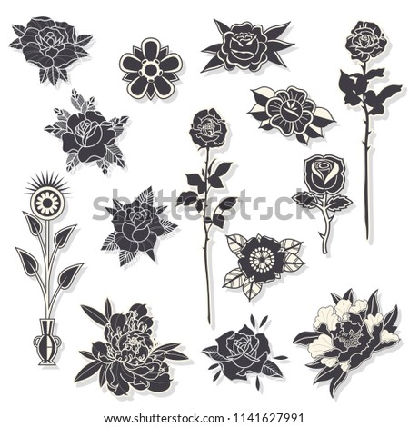 Vector Set Black Flowers Traditional Tattoo Stock Vector Royalty