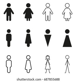 Vector Set of Black Gender Icons. WC Pictograms.
