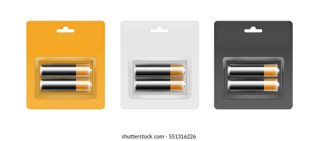 Vector Set of Black Golden Glossy Alkaline AA Batteries in Yellow Black Gray Blister Packed for branding Close up Isolated on White Background