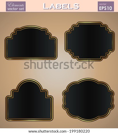 88ec9d0ed38 Vector set  black gold-framed labels  stickers . Easy to edit. Perfect for  your works