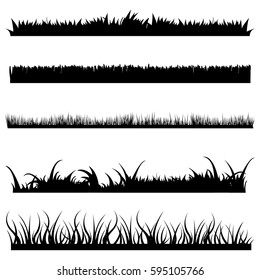 Vector Set of Black Grass Silhouettes on White Backround