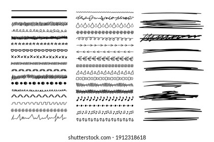 Vector Set of Black Hand Drawn Doodle Lines Isolated on White Background, Design Elements,  Black and White.