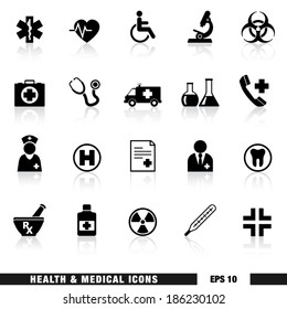 Vector set of black health and medical web icon and design elements for hospital, ambulatory, clinic or other health care institution. EPS 10 illustration on white background with reflection effect.