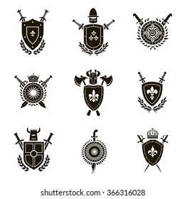 Vector set black heraldic signs, heraldic elements, heraldry, insignia, signs on a white background